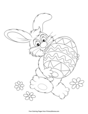 easter bunny holding an egg coloring page • free printable ebook in 2020 with images  easter