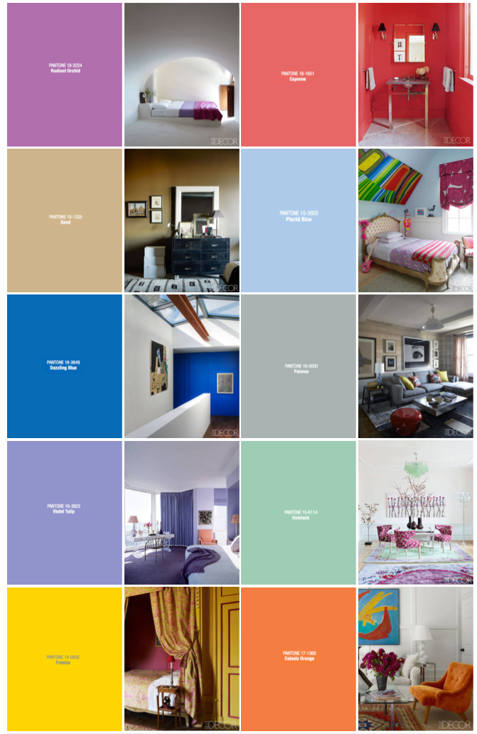 Spring 2014 color trends from Elle Decoration and Pantone