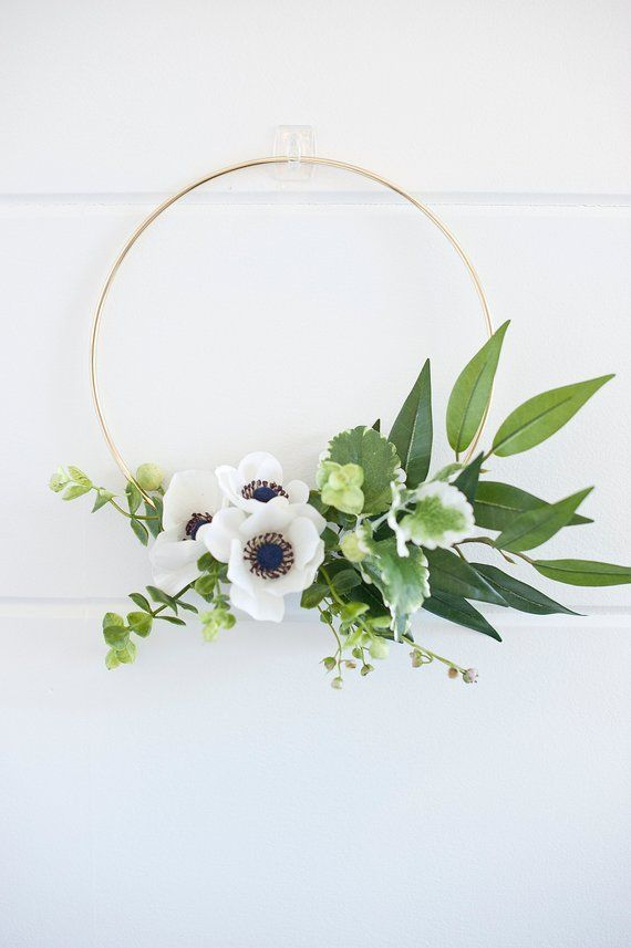 Photo of Modern mini anemone wreath | hoop wreath | Modern wreath | anemone wreath | greens wreath | modern farmhouse | nursery wreath – modern