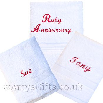Wedding Anniversary Towels Set. Pair of White bath towels embroidered in  any thread colour with