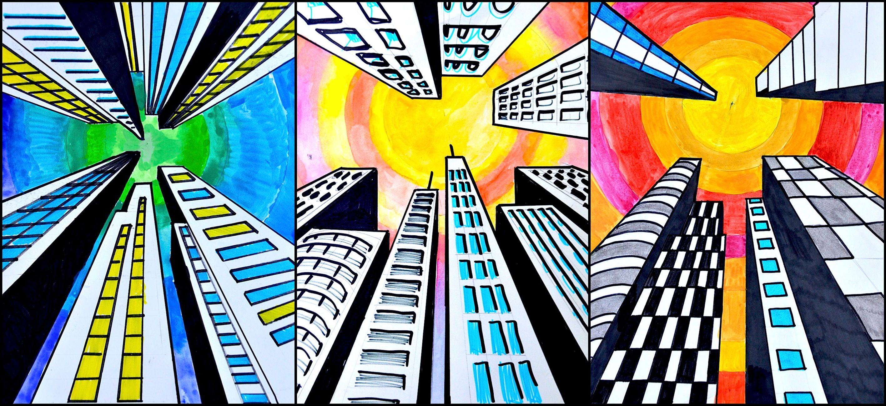 Buildings in one point perspective | Perspective art ... Easy One Point Perspective Drawing For Kids