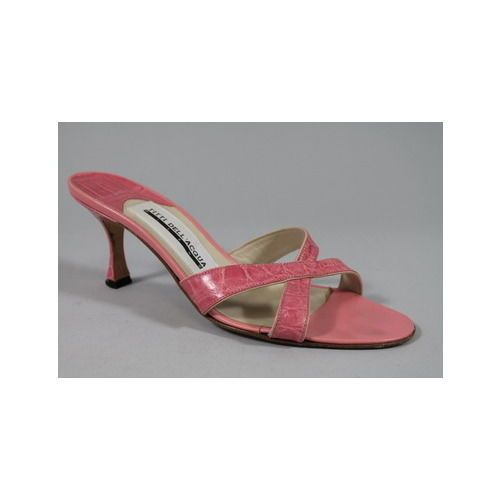TITTI DELL'ACQUA Pink Alligator Open Toe Slides Sandals Heels Sz 37.5 7.5 #TittiDellAcqua #Slides