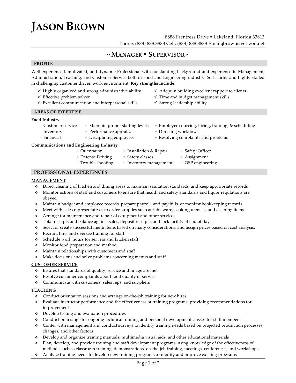 Supervisor resume sample free call center supervisor resume sample food services manager sample resume bar worker cover letter for restaurant general supervisor management areas best free home design idea madrichimfo Gallery