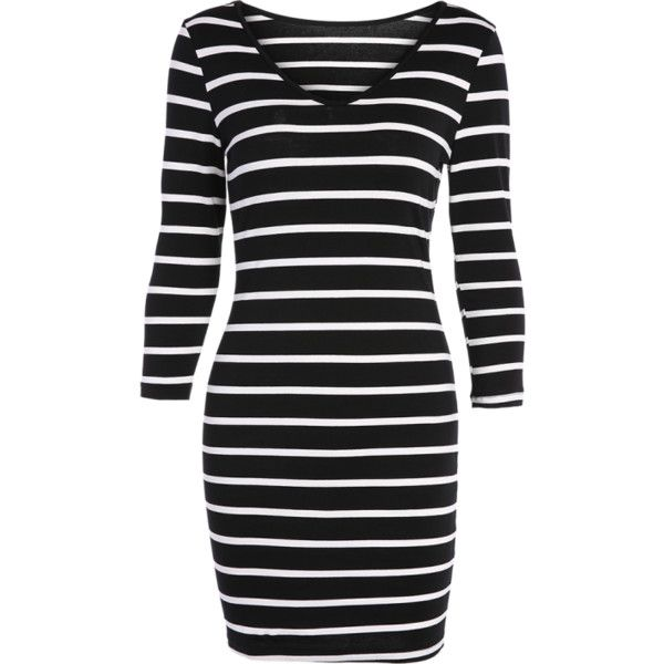 Fitted Striped T-Shirt Dress ($18) ❤ liked on Polyvore featuring dresses, tee dress, fitted t shirt dress, striped fitted dress, stripe tee dress and tee shirt dress