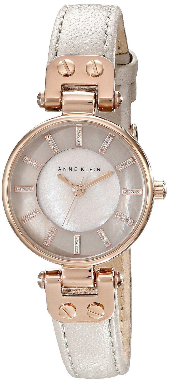 Anne Klein Womens Ak 1950rgtp Rose Gold Tone Watch With Taupe Fossil Es3380 Original Boyfriend Chronograph Leather Band