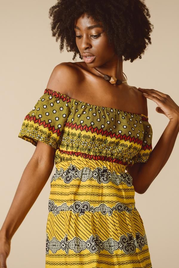 193c62033e4 Yellow tribal print off shoulder top in African textiles. Can be worn over  the shoulders too. Fair trade fashion for women who love eco-friendly  sustainable ...