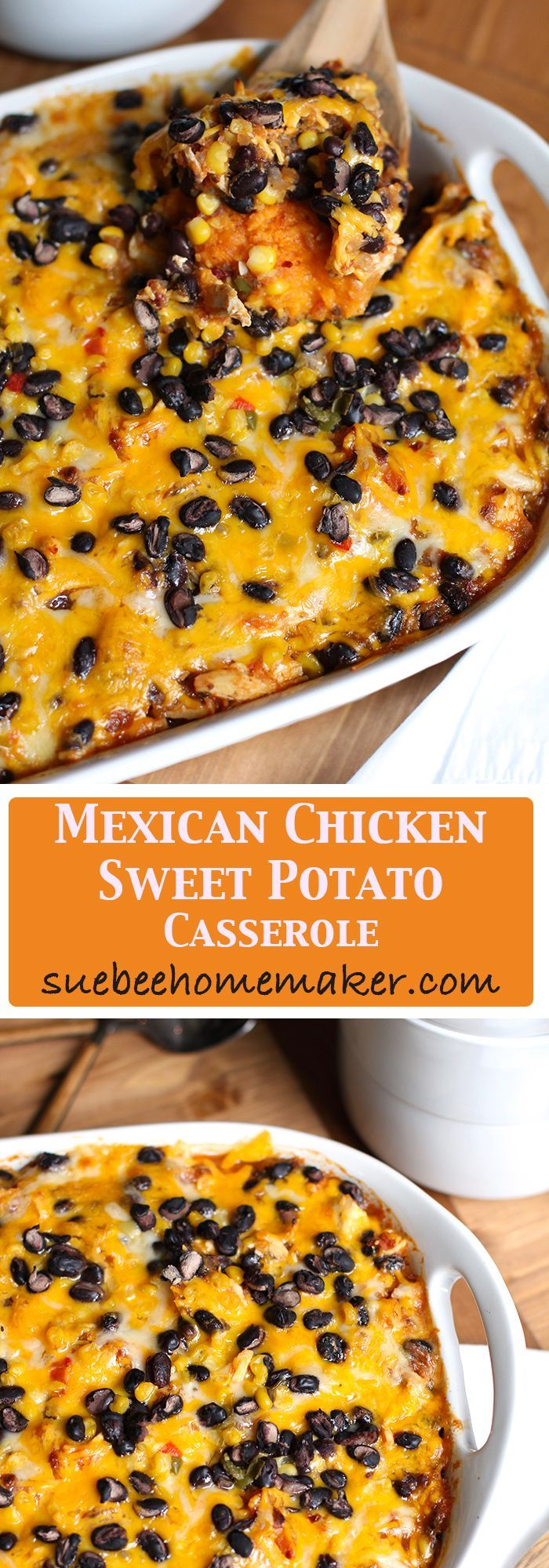 Mexican Chicken and Sweet Potato Casserole is a healthy Tex-Mex dish, combining sweet potatoes with shredded chicken, beans, and a spicy sauce!