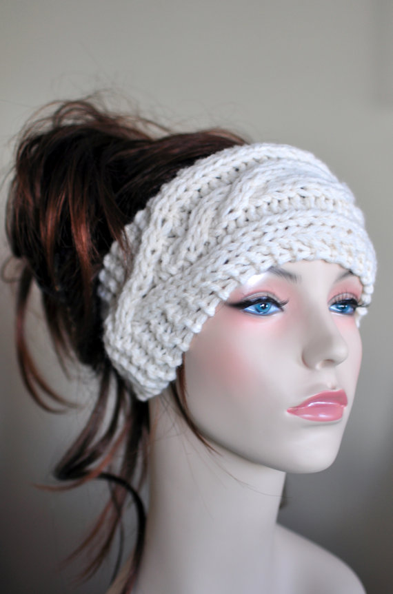 White Cabled Earwarmer
