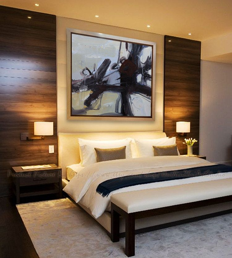 21 Master Bedroom Interior Designs Decorating Ideas: Extra Large Acrylic Painting On Canvas, Minimalist