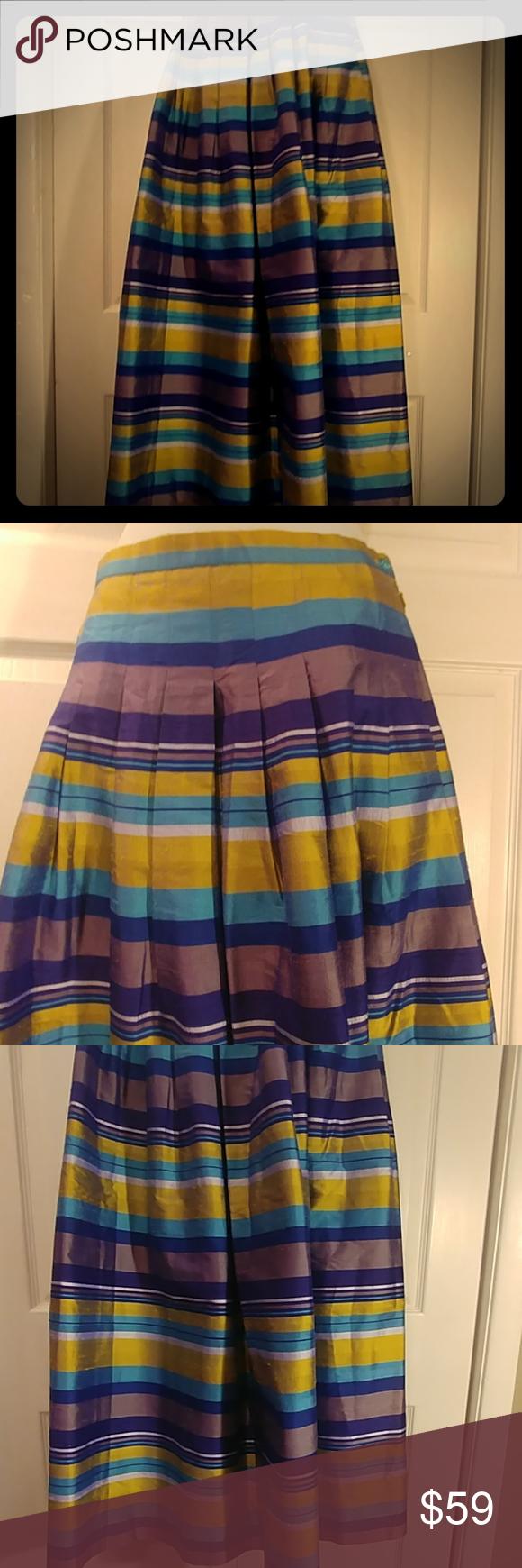 Worth silk taffeta pleated VTG long skirt as 6 Vintage long 39.5 in. Waist 26