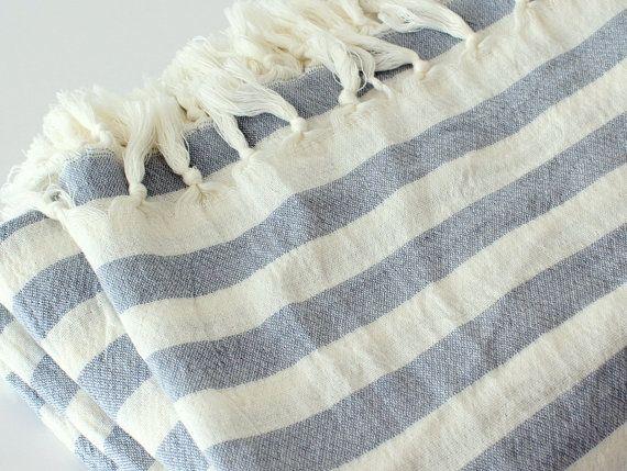 Striped Summer Beach Blanket For 2 White Blue Striped