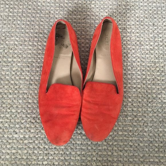 Red suede loafers J. Crew red suede loafers. Super cute, just no room in my closet for them! J. Crew Shoes Flats & Loafers