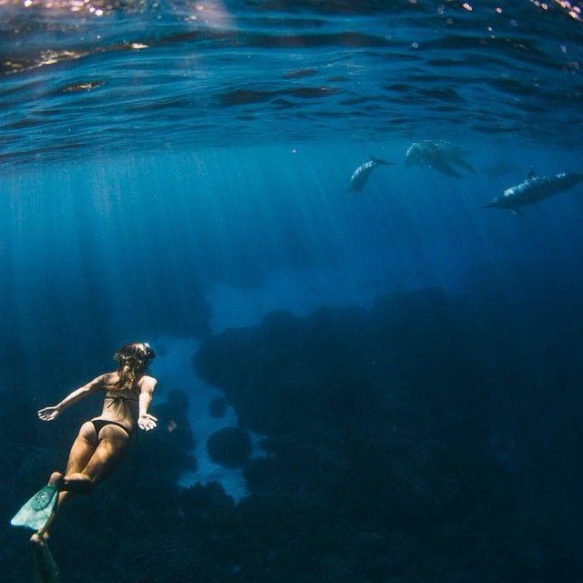 Beautiful Places Underwater: Mermaid In A Little Black Bikini #ellemer