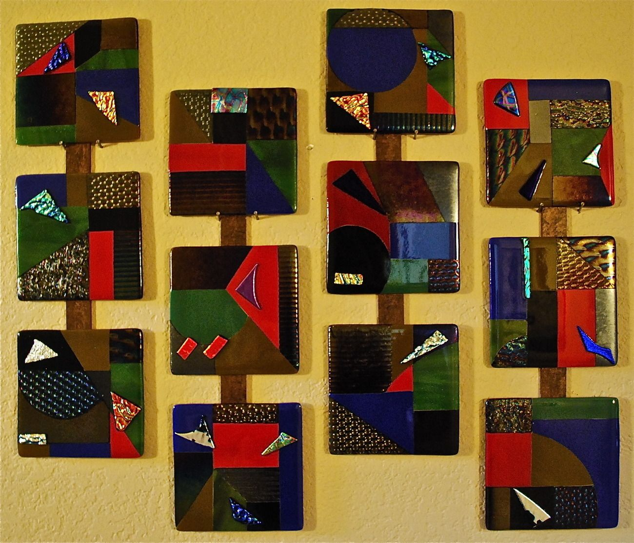 Fused Glass Wall Art | ... Fused Glass Tiles Wall Art Decoration ...