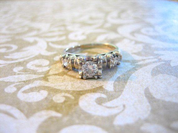 Art Deco 14K Gold Diamond Engagement Wedding Band by charmingellie, $475.00