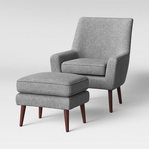Marvelous 2Pc Durell Chair And Ottoman Gray Project 62 Furniture Machost Co Dining Chair Design Ideas Machostcouk