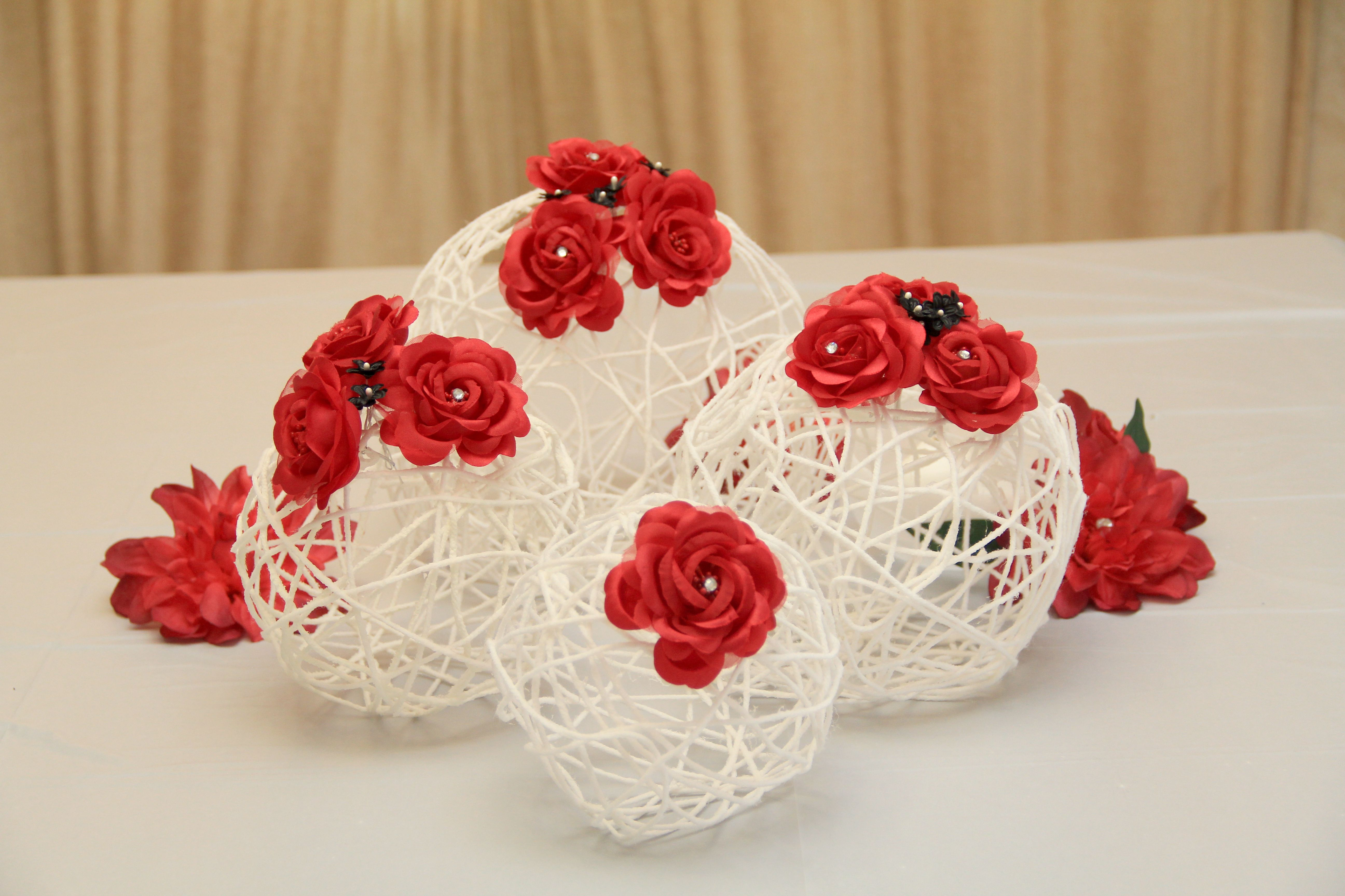 Yarn Balls with Red Roses