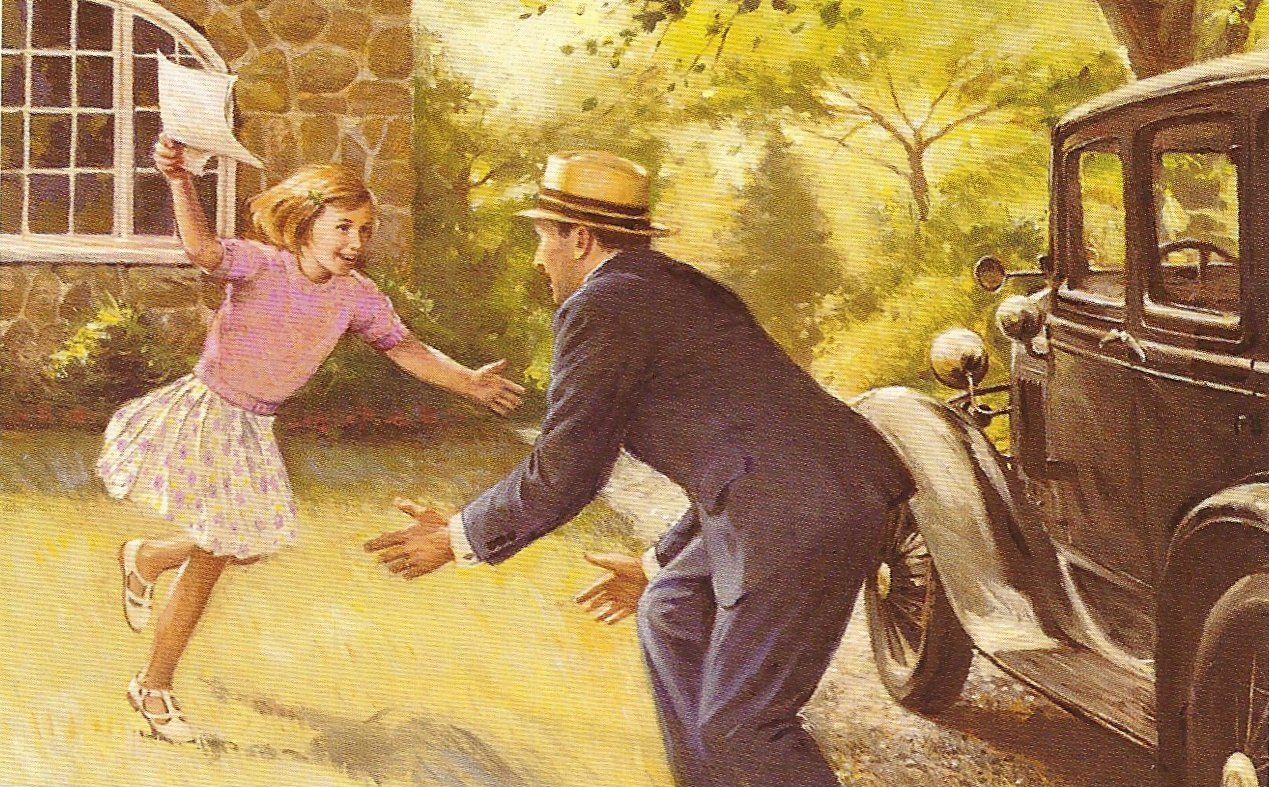 American Girl Kit Kittredge Rushes Over To Her Dad To