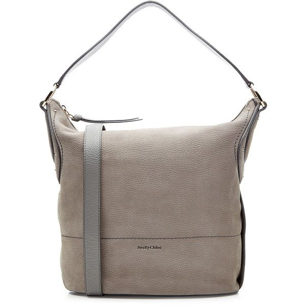 See by Chloé Two-Tone Leather Hobo ($405) ❤ liked on Polyvore featuring bags, handbags, shoulder bags, grey, hobo handbags, grey leather purse, leather shoulder bag, grey leather handbag and hippie shoulder bag