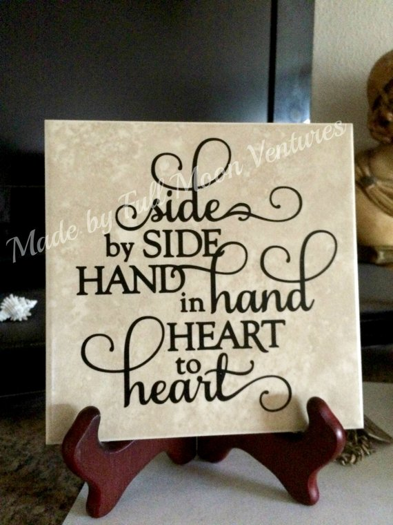 Decorative Tile Side By Side Hand In Hand Heart To Heart Tile With