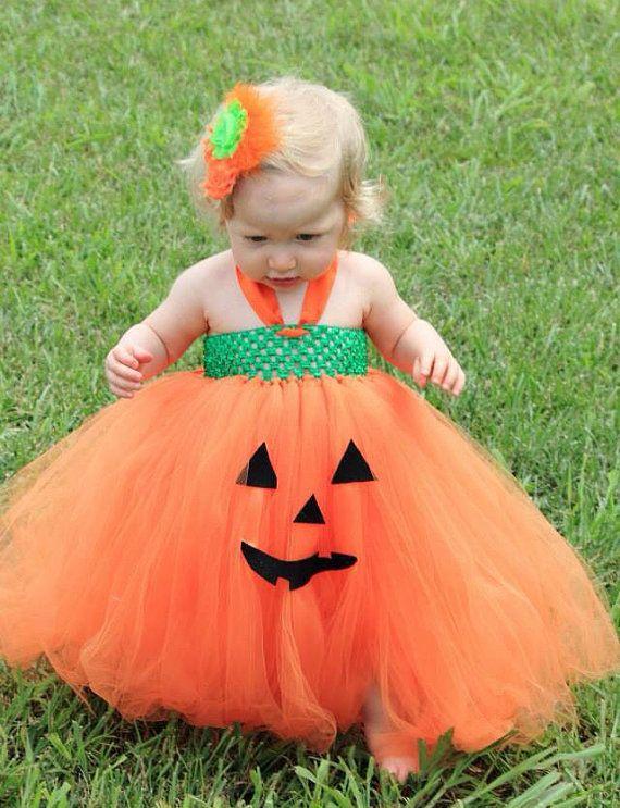 77a486463cbf Pumpkin tutu dress and matching flower clip by LittledreamsbyMayra, $35.00