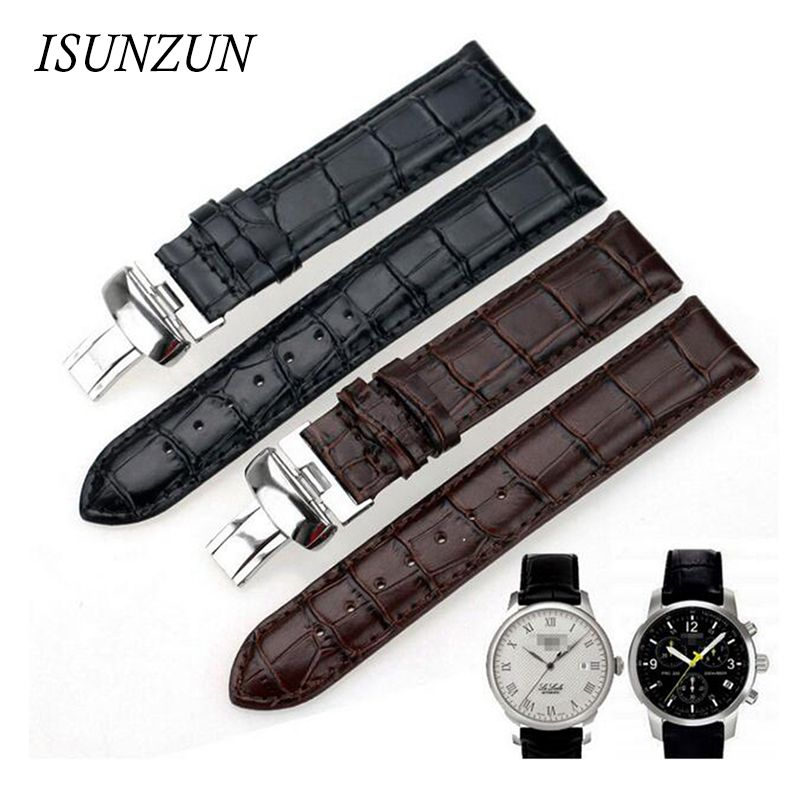 ISUNZUN Men's For Tissot 1853 T41 Locke PRC200 T461 T17 Watch Band Black Leather Watch Strap Watches Accessories WatchBands