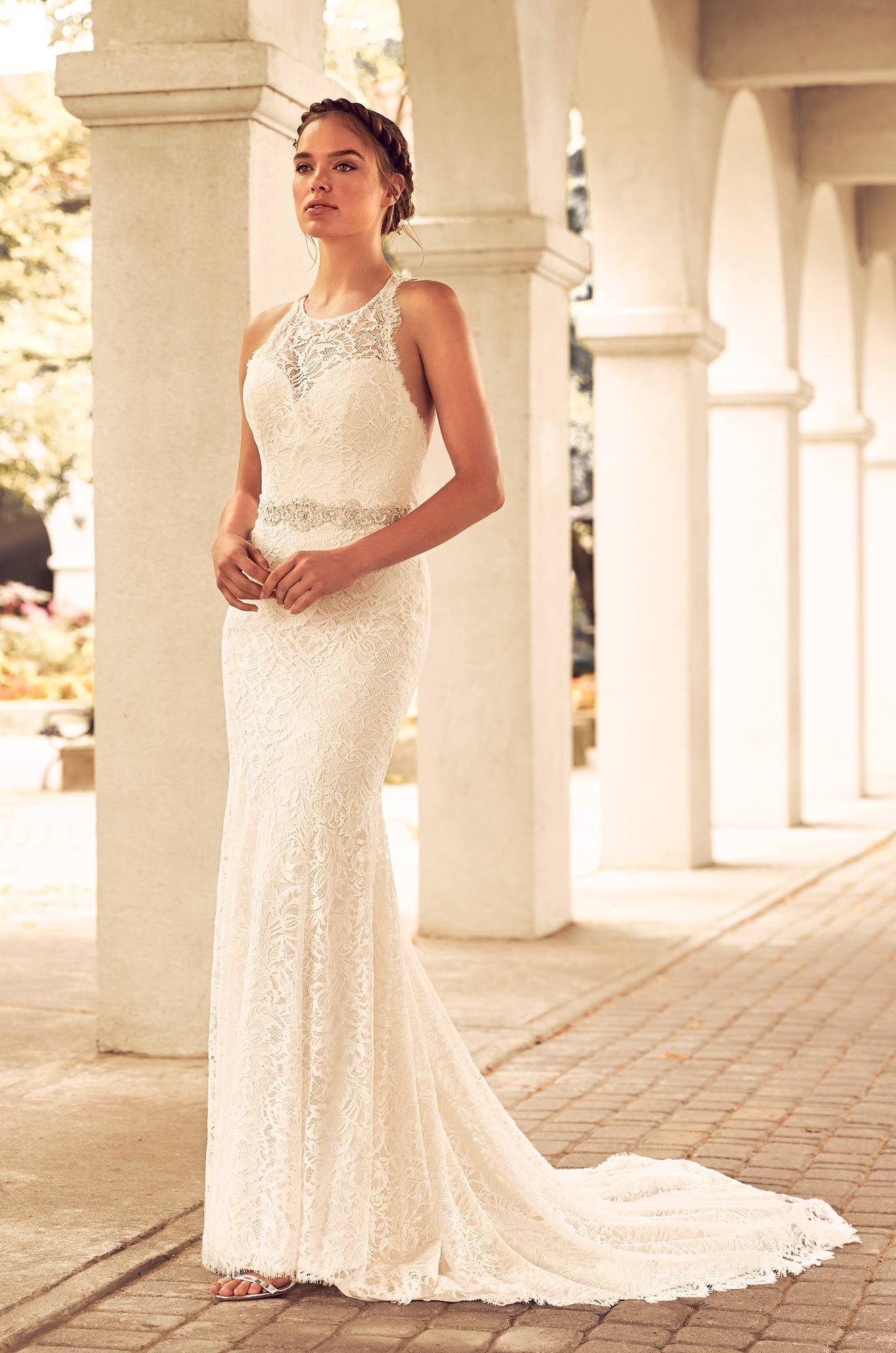 Lace racerback wedding dress style bateau neckline paloma