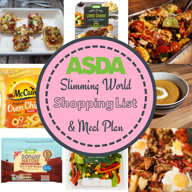 Asda 7 Day Slimming World Meal Plan Shopping List Budget Friendly And Low Syn Meal Planning Slimming World Free Foods Slimming World Diet Plan