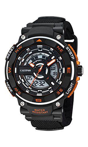 01c0317c507b Calypso K5673 1 - Reloj de cuarzo analógico para hombre con pantalla LCD  Digital y correa de resina color negro
