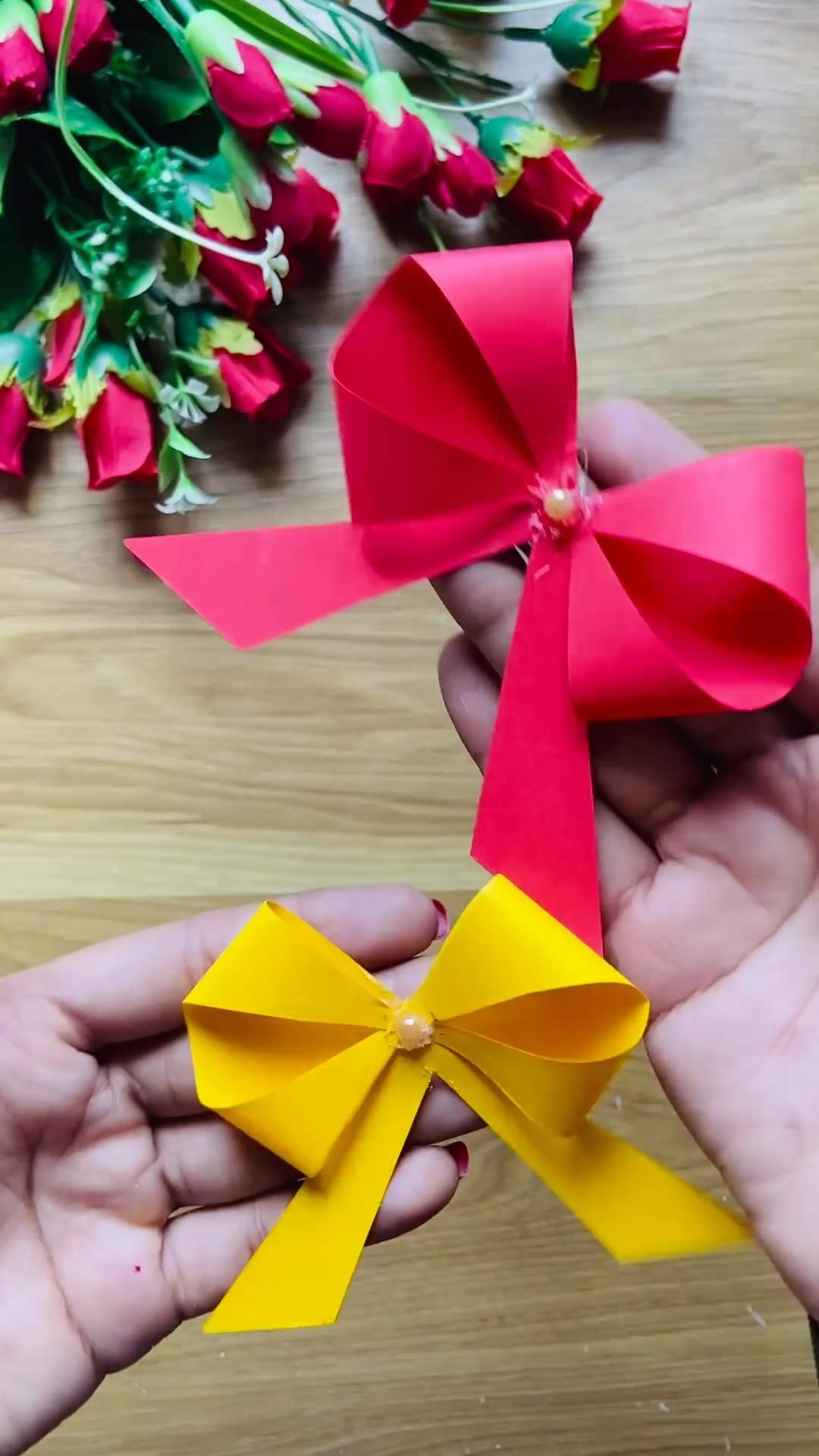 Paper Bow Tie Short Video Youtube Video In 2020 Paper Bow Paper Bows Diy Diy Christmas Paper