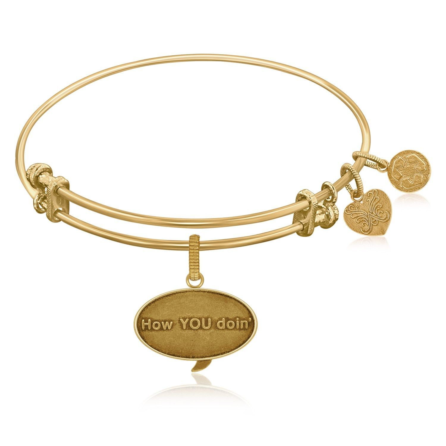 Expandable Bangle in Yellow Tone Brass with How You Doin Symbol