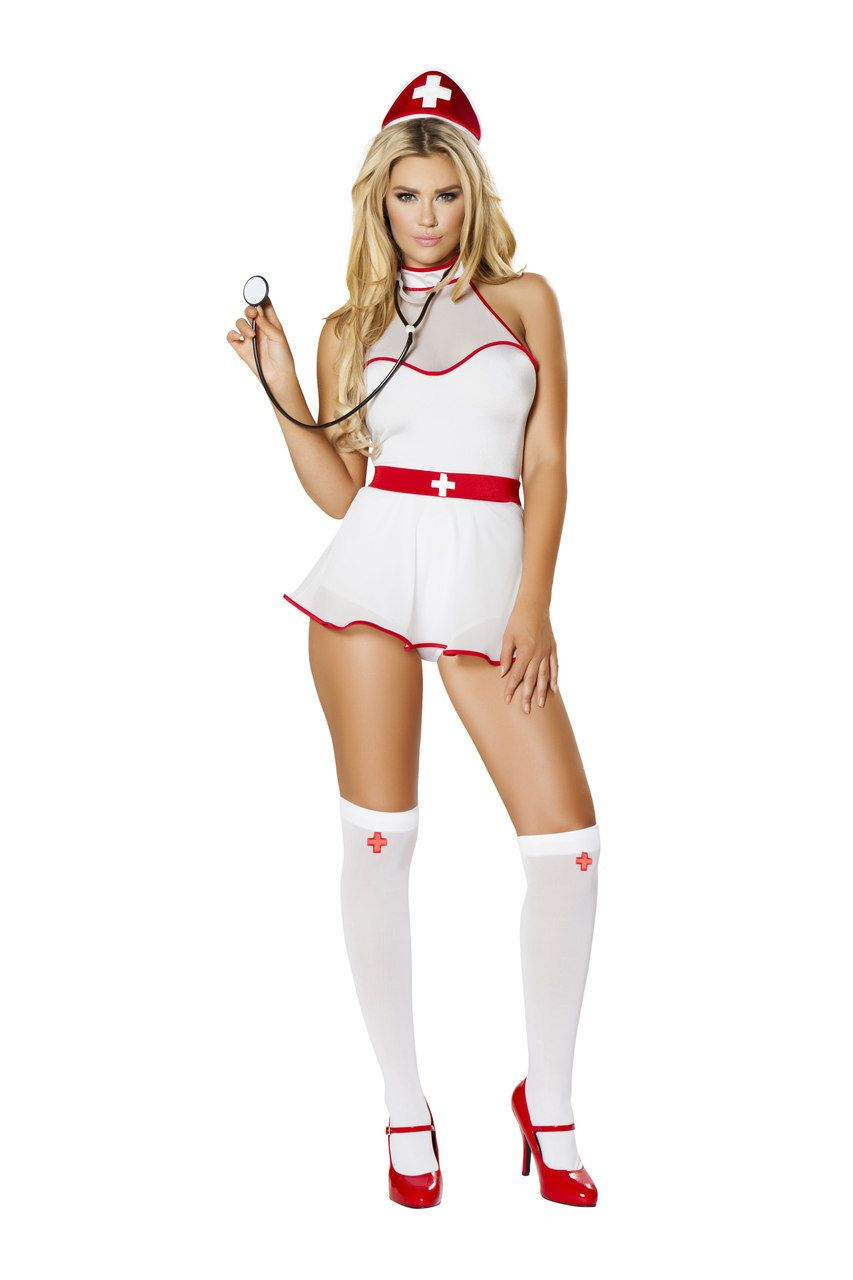 NURSE HALLOWEEN Costume  White//Red SMALL