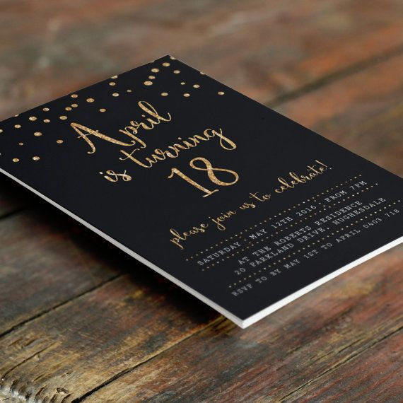 Black And Gold 18th Birthday Invitation A6 Digital File