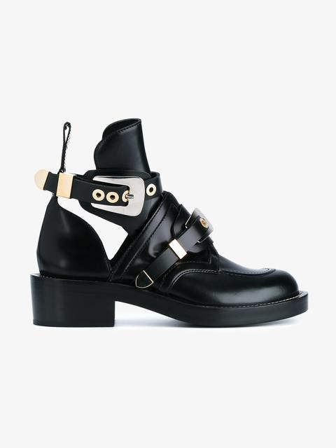 cabb8a90416 Black Apron Leather Ankle Boots in 2019 | cipele | Balenciaga boots ...