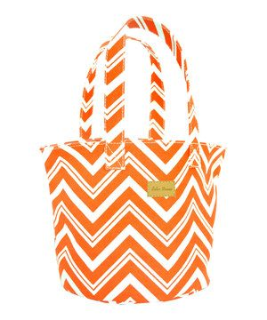 Loving this Tangerine Orange Zigzag Canvas Tote on #zulily! #zulilyfinds