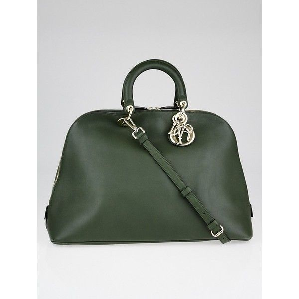 Pre-owned Christian Dior Green Calfskin Leather Large Diorissimo ...