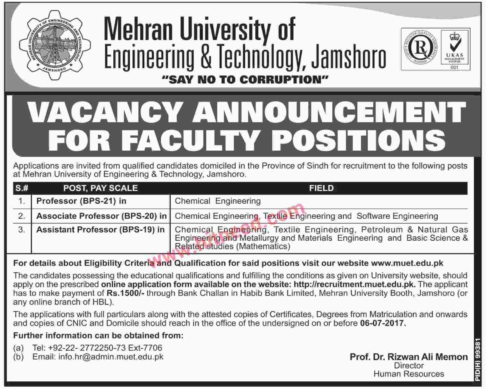 Mehran University Of Engineering  Technology Jamshoro Latest