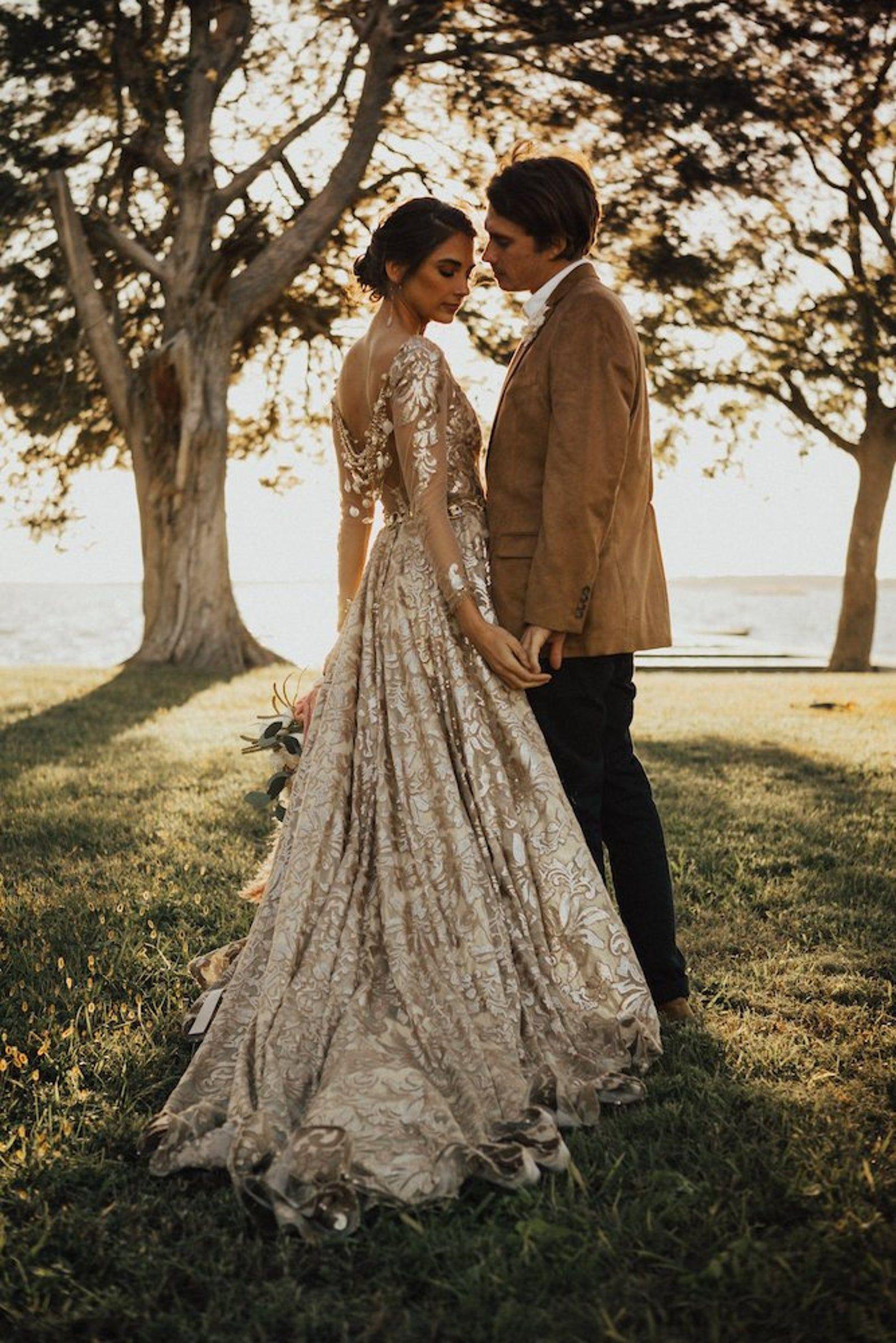 Custom Champagne Wedding Dress Champagne Gold Wedding Dress Wedding Dresses Wedding Gown A Line