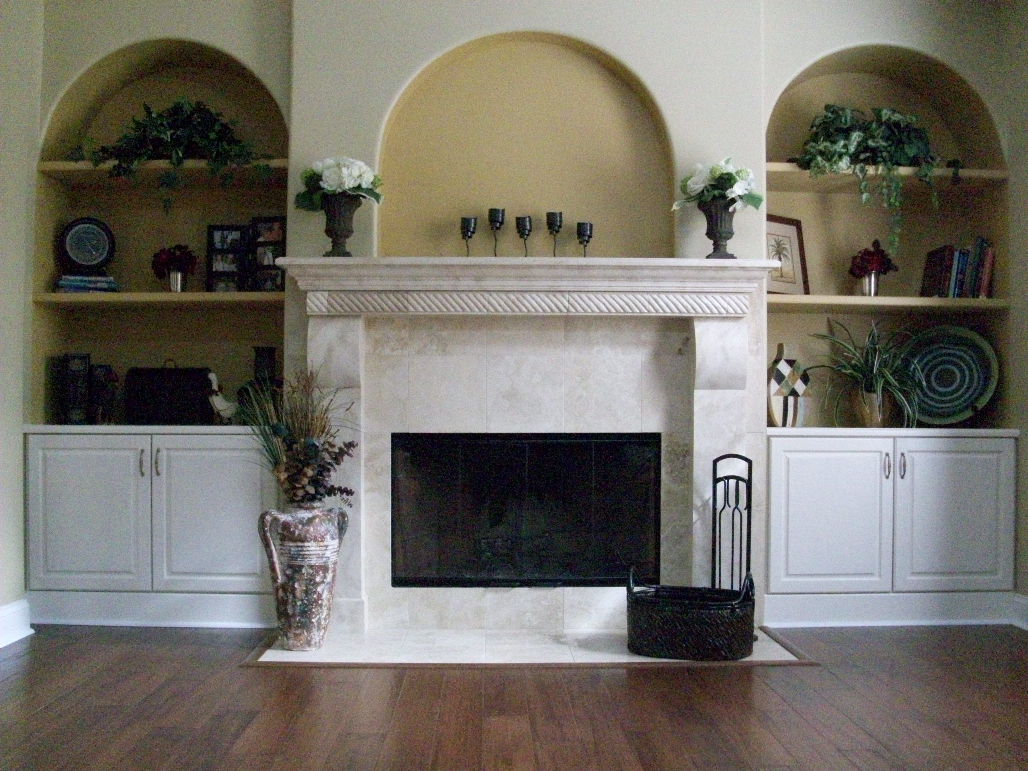 Fireplace+Built+In+Cabinets - Fireplace With Built In Cabinets And Custom Mantle