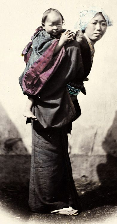Mother and Child. Hand-colored photo, 1870's, Japan, by photographer Felice Beato