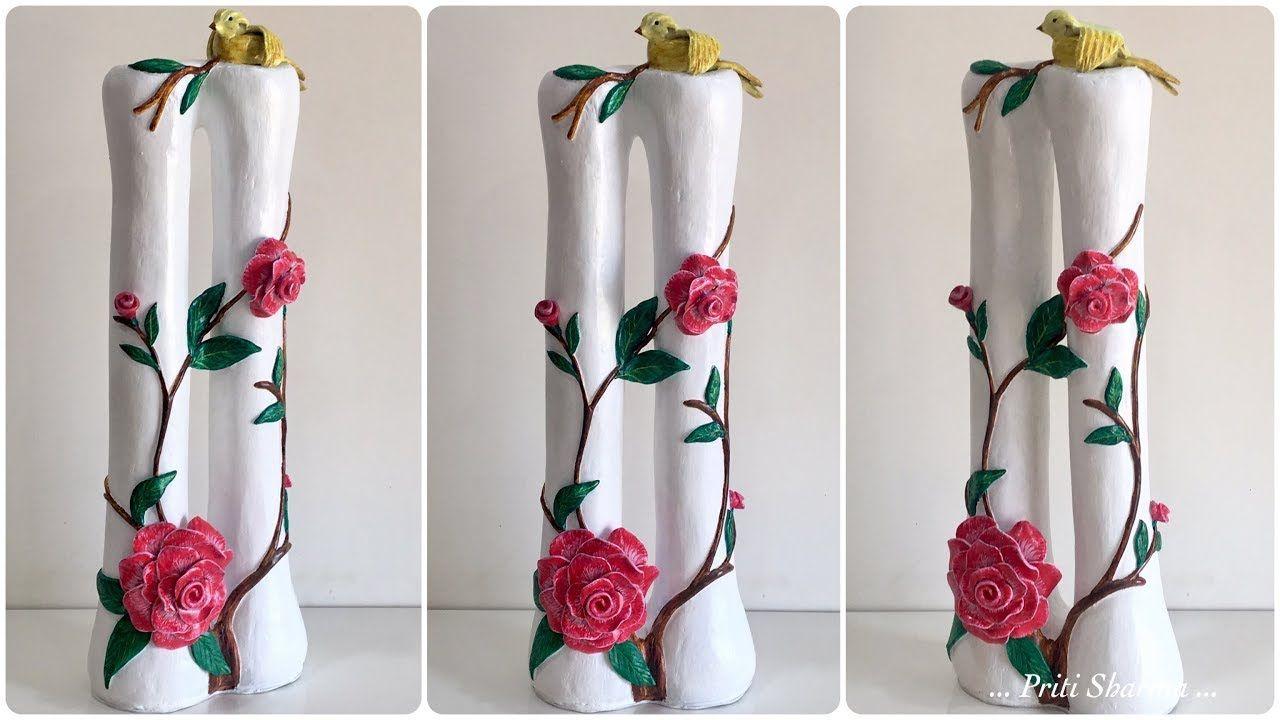 How To Make Stylish Flower Vase 23 Handmade Flower Pot With Bird And Handmade Flower Pots Flower Vase Diy Flower Vases