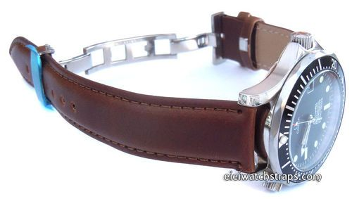 747b272ebb9 Dark Brown Leather Watch strap on butterfly deployant clasp For Omega  Seamaster professional