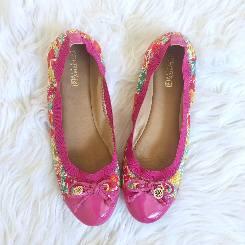 Sperry Shoes | Sperry Pink Floral Patent Leather Ballet Flats 8 | Color: Green/Pink | Size: 8 Sperry Shoes | Sperry Pink Floral Patent Leather Ballet Flats 8 | Color: Green/Pink | Size: 8