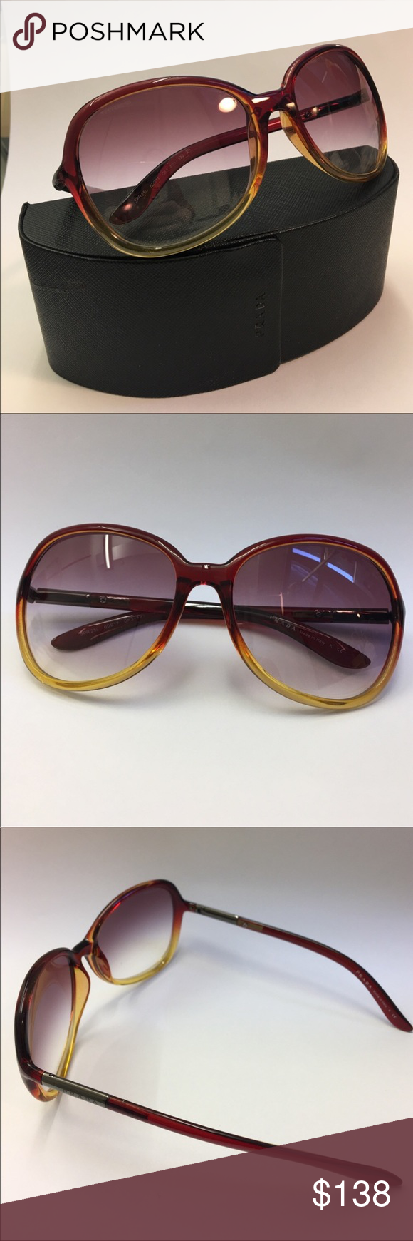 ba4a9a257dca ... sale like new prada oversized ombre sunglasses spr 25l red like brown  turns to yellow 71f9b