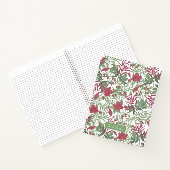 Crimson and Sage Floral Personal Spiral Notebook #zazzlemade #custom #paper #floral #herbal#botanical #gifts #gardenstyle #flowers #vintage #floral
