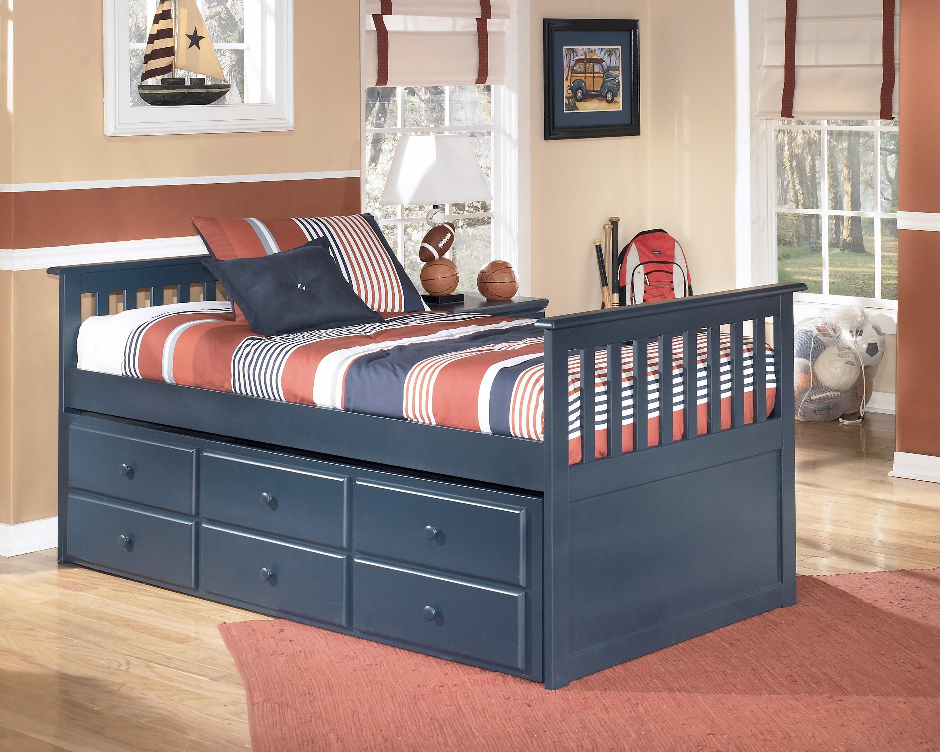 Leo Twin Bed With Trundle By Signature Design By Ashley Twin Trundle Bed Wood Twin Bed Trundle Bed