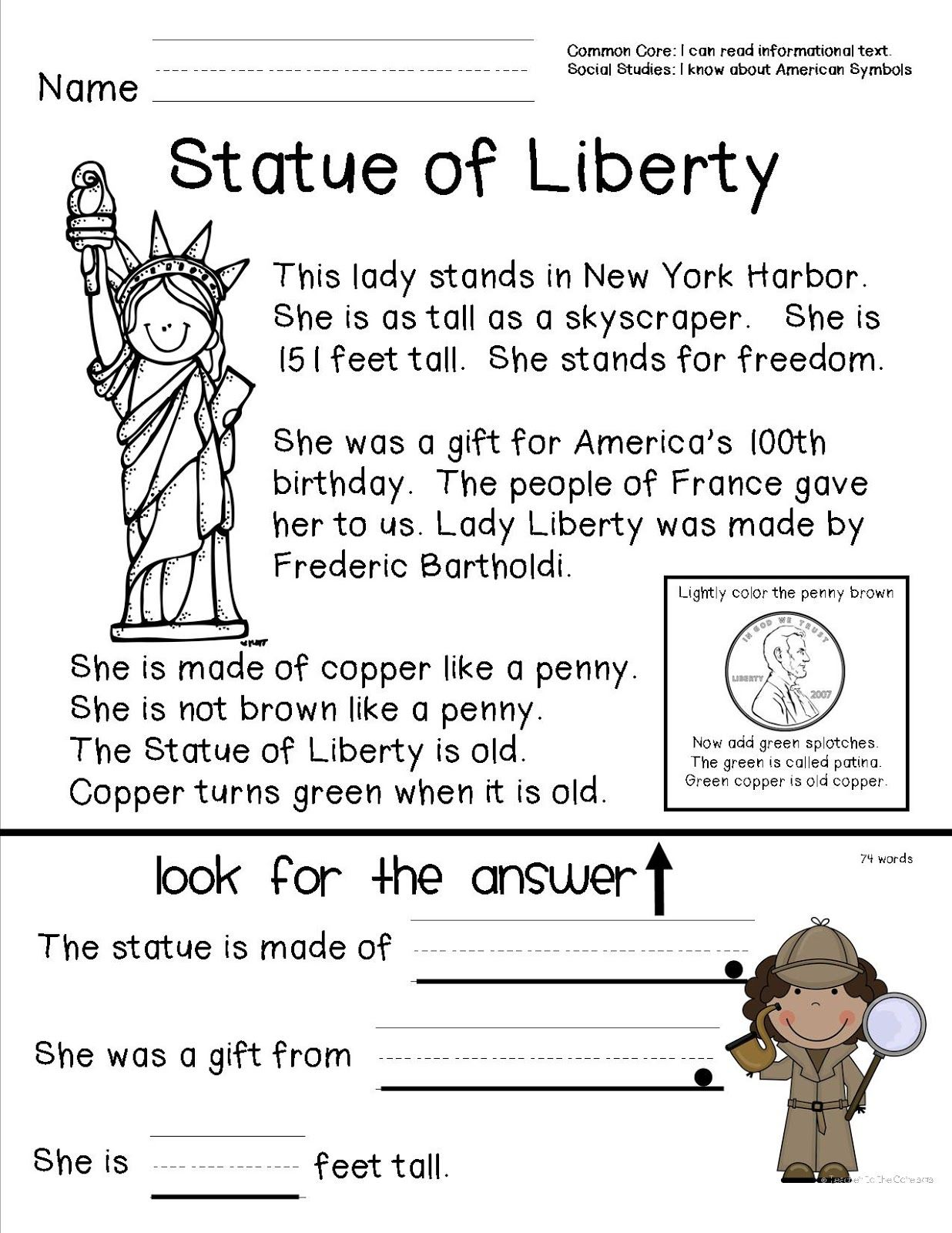 Reading Comprehension Sheet About The Statue Of Liberty For Primary Grades