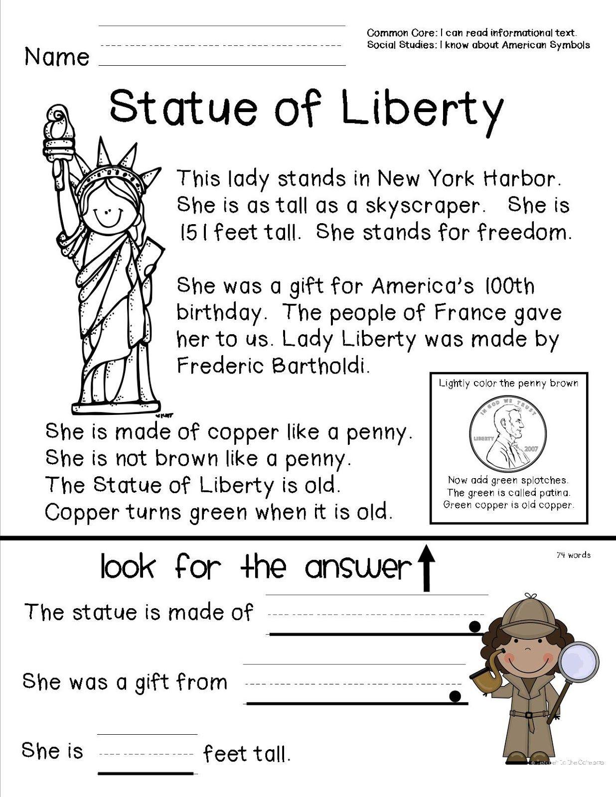 American Symbols   Social studies worksheets [ 1600 x 1236 Pixel ]