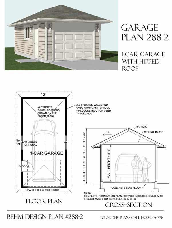 ordinary basic garage plans #1: Hipped Roof 1 Car Garage Plan 288-2 By Behm Design