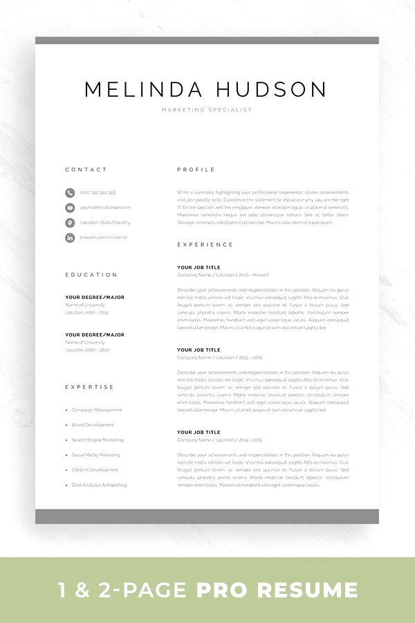 Choose from 100+ designs to stand out from the competition and grab your employers' Modern Resume Template For Word Mac Pages Professional 1 Etsy In 2021 Resume Template Word Modern Resume Template Resume References